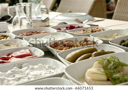 Traditional Turkish appetizers on the table