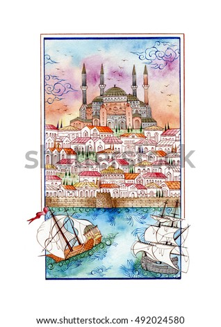 Traditional Turkish art/miniature ottoman/hand-drawn illustration/Islamic handcraft