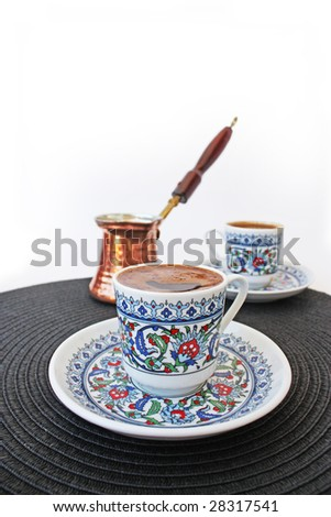 Traditional Turkish Coffee. Mocha with a Cezve.