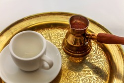 Traditional Turkish coffee ready to serve