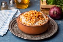 Traditional Turkish cuisine. Kuru Fasulye . Haricot Beans, rice and beans (Turkish name; pilav ustu kuru fasulye)