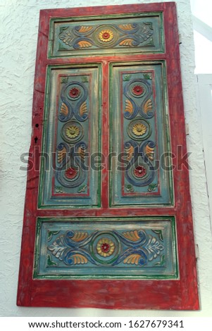 Traditional Turkish Decorative Colorful Home Door hanged on a wall, wood carving Stok fotoğraf ©