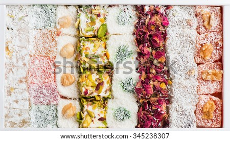 Traditional turkish delight rahat lokum in a box, top view