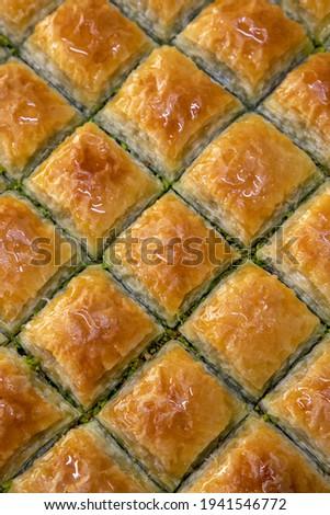 Traditional turkish dessert antep baklava with pistachio, ramadan or holiday desserts in tray  Stok fotoğraf ©
