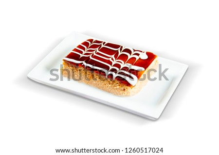 Traditional Turkish Dessert Trilece, White Background, with clipping path included (TR: Geleneksel Turk Trilece) Stok fotoğraf ©