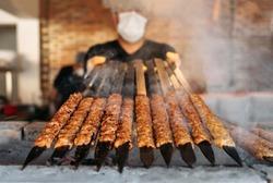 Traditional Turkish grilled shish kebab or kebap. Delicious Adana kebab in Turkish Restaurant