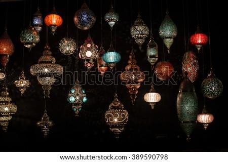 Traditional Turkish lanterns (hanging mosaic glass lamps)