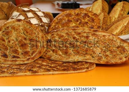 Traditional Turkish ramadan pita bread - Ramazan pidesi #1372685879