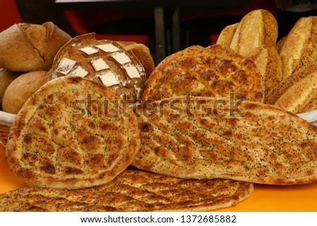 Traditional Turkish ramadan pita bread - Ramazan pidesi #1372685882