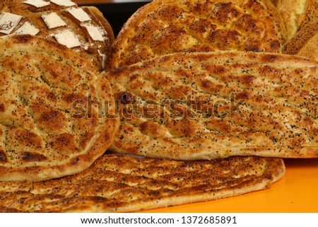 Traditional Turkish ramadan pita bread - Ramazan pidesi #1372685891
