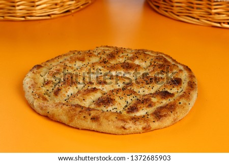Traditional Turkish ramadan pita bread - Ramazan pidesi #1372685903