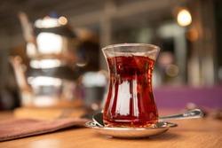 Traditional turkish tea in glass