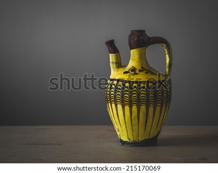 Traditional Turkish Vase Still Life. Geometric patterned vase typical in Turkey.