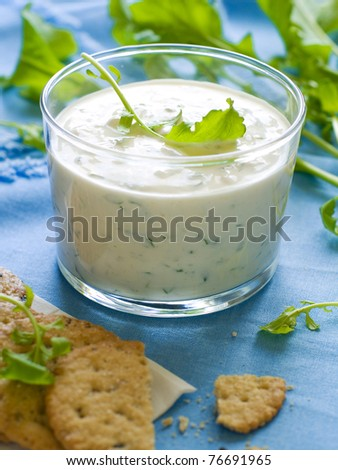 Traditional Tzatziki dip, made with yogurt or sour cream.