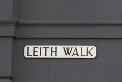 Traditional U.K. Street Name Sign for Leith Walk in Edinburgh Scotland