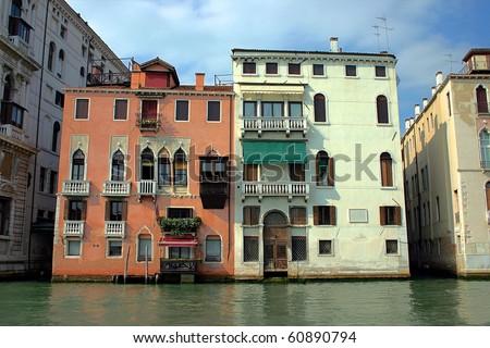 Traditional Venetian Houses Italy Stock Photo 60890794