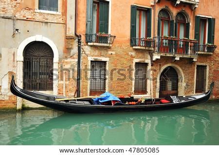 Traditional Venice gondola - stock photo