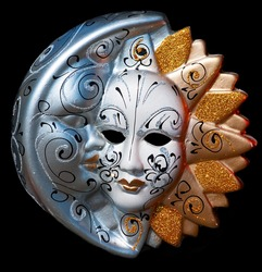 traditional Venice mask with colored decoration