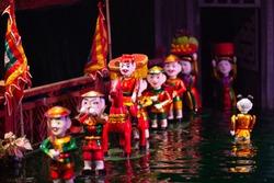 Traditional Vietnamese cultural water puppet theatre show in Hanoi, Vietnam water puppetry, Hanoi, Vietnam.