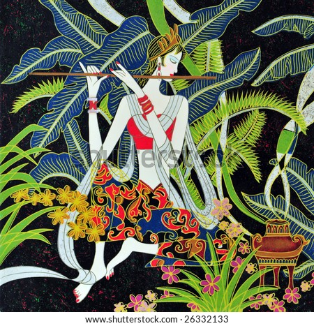 traditional vietnamese folk art handmade picture on the wood with girl playing on flute - stock photo