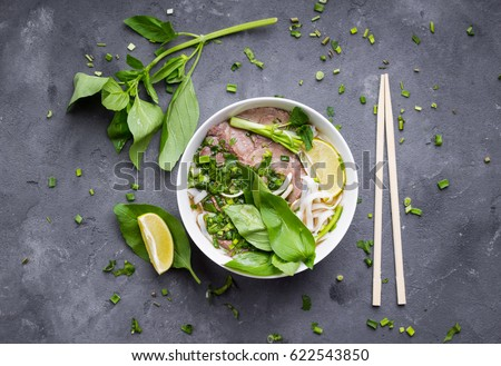 Traditional Vietnamese soup Pho with beef and rice noodles