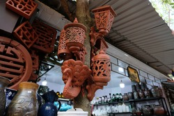 Traditional Vietnamese Pottery Products On Tree