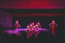 Traditional Vietnamese water puppet theatre show in Hanoi, Vietnam, water puppetry