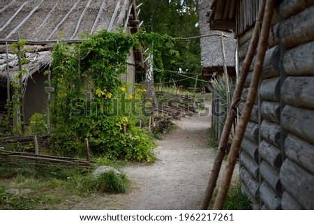 Traditional viking age village. Birka, Björkö island, lake Mälaren, Sweden. Wooden house (log cabin), garden. Atmospheric landscape. Landmarks, sightseeing, history, historical reenactment, craft Stock fotó ©