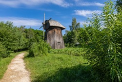 Traditional village in Poland. Open Air Museum. Wooden houses. Wooden folk architecture from different areas of the Lublin Voivodeship. Poland