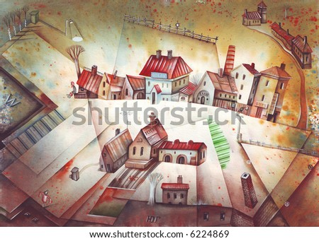 Traditional village or little town. Illustration by Eugene Ivanov.