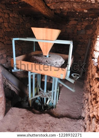 Traditional water mill for grinding wheat  in MOROCCO in the Province  of TAZA ,Sustainable energy and water power traditional machinery