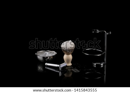 Traditional wet shaving. Shaving brush, safety razor and soap.