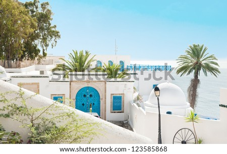 Traditional white and blue houses with a palm and sea at beautiful Tunisian town Sidi Bou Said