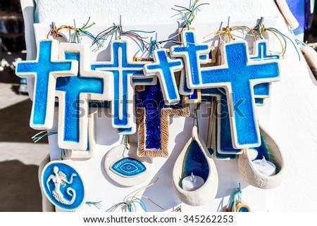 Traditional white blue souvenirs, Santorini island, Greece