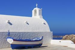 Traditional white church at Santorini island in Greece