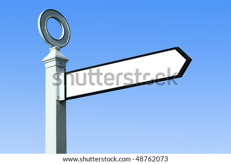Traditional white wooden blank finger post