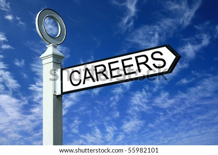 Traditional white wooden finger post careers sign - stock photo