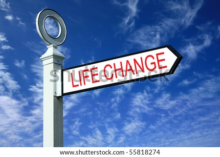 Traditional white wooden finger post life change sign