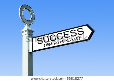 Traditional white wooden finger post success sign