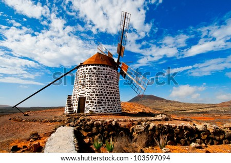 Traditional windmill and aloe plants, Fuerteventura, Canary islands, Spain