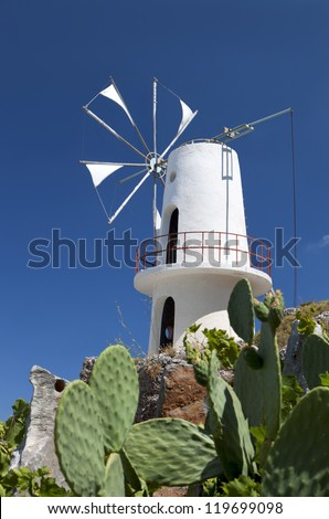 Traditional windmill at Lasithi plateau of Crete island in Greece