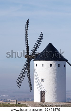 traditional windmill in Alcazar de San Juan, Ciudad Real, Castilla La Mancha, Spain