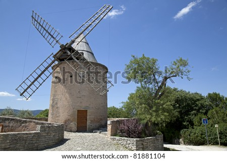 Traditional windmill in Goult, Provence region, France #81881104
