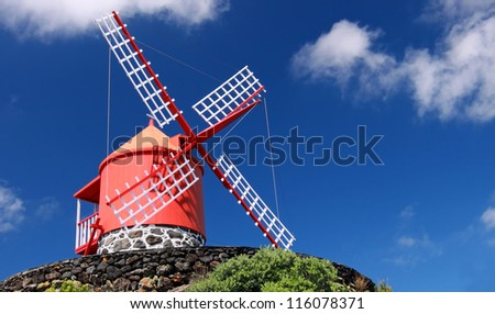 Traditional windmill near Feteira  Piso Island, Azores Islands