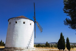 Traditional windmill of La Mancha, in Spain, protagonist of the famous novel Don Quixote.