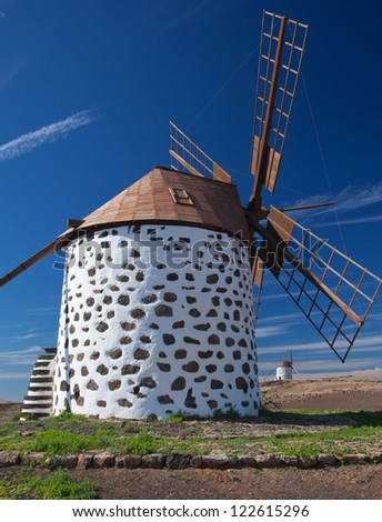 traditional windmills between Villaverde and La Oliva, Fuerteventura, Canary Islands