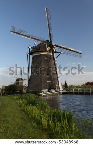 Traditional windmills  on the country side of Holland