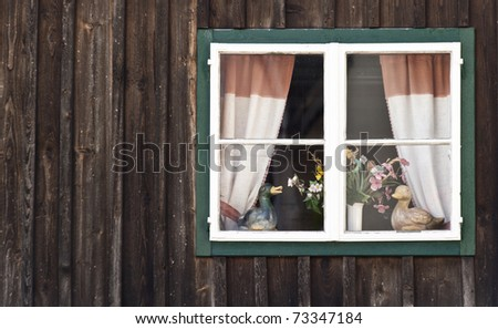 Traditional Window in Salzkammergut, Austria.; with some copyspace