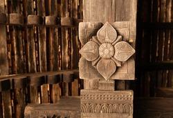 Traditional wood carvings of Embekka Devalaya , Embekka Devalaya was built by the King Vikramabahu III of Gampola Era in Sri Lanka.