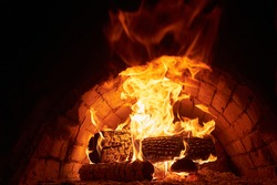 traditional wood fire oven inside hot